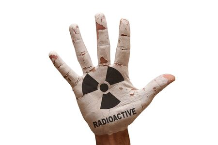 radioactive: man hand palm painted caution radioactive symbol