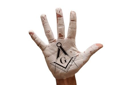 freemasonry: man hand palm painted caution Freemasonry symbol Stock Photo