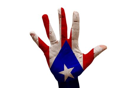 rico: man hand palm painted flag of puerto rico