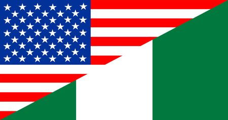 country nigeria: united states of america and nigeria half country flag