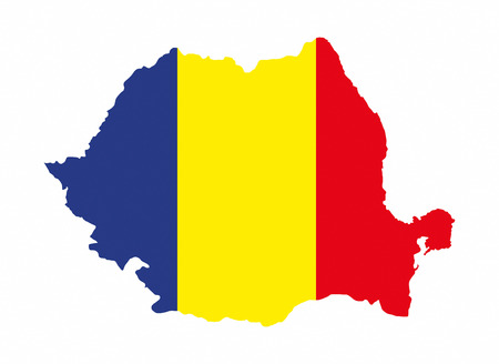 Romania Country Flag Map Shape National Symbol Stock Photo Picture