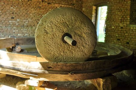 traction: sibiu romania ethno museum animal traction  stone mill Editorial