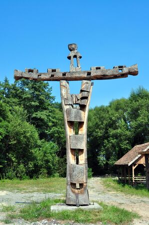 folk heritage: sibiu romania ethno museum wood carved crucifix