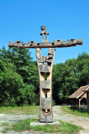 kruzifix: Sibiu Rum�nien ethno Museum Holz geschnitzt Kruzifix