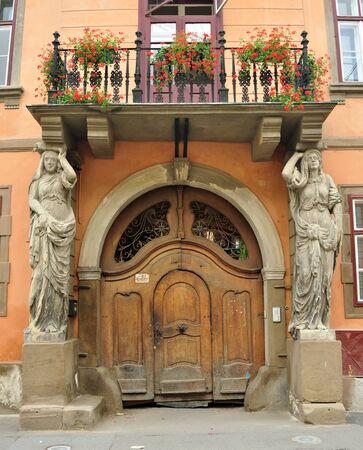 caryatids: Sibiu city Romania Kariatidas House architecture detail