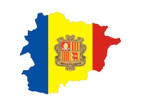 andorra: andorra country flag map shape national symbol