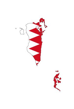 bahrain: bahrain country flag map shape national symbol Stock Photo