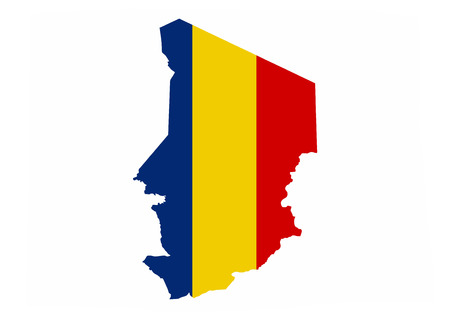 chad: chad country flag map shape national symbol