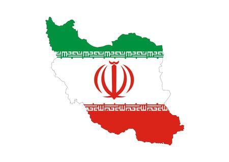 iran country flag map shape symbol illustration Stock Photo