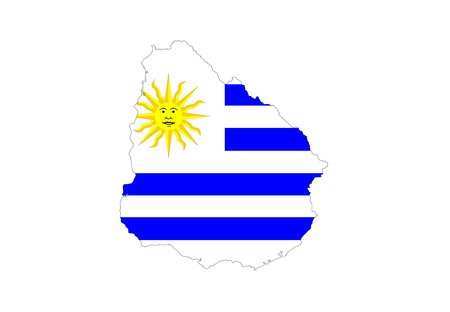 uruguay: uruguay country flag map shape symbol illustration