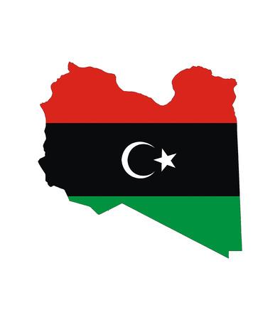 lybia: libya country flag map shape national symbol Stock Photo