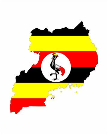 uganda country flag map shape national symbol