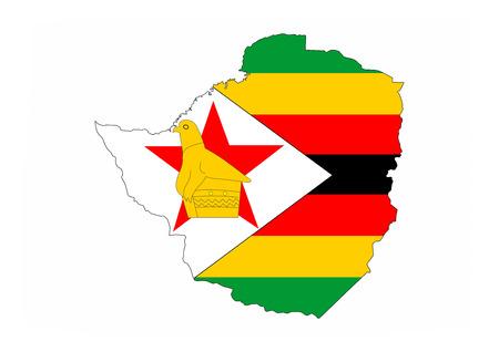 zimbabwe: mapa zimbabwe bandera del país forma símbolo nacional Foto de archivo