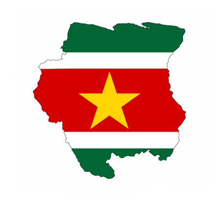 suriname: suriname country flag map shape national symbol Stock Photo