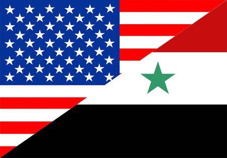 Verenigde Staten van Amerika en Syrië half land vlag
