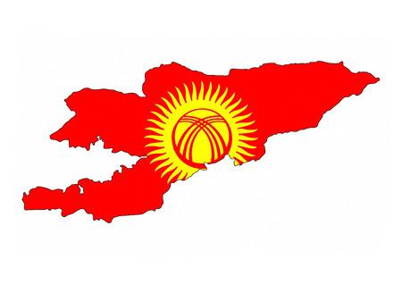 kyrgyzstan: mapa Kirguistán bandera del país forma símbolo nacional