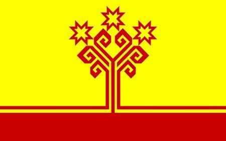 the federation: russian federation chuvashia people republic flag illustration Stock Photo