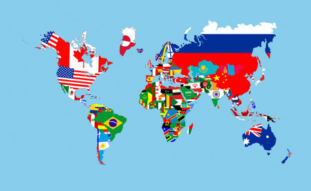 world countries flags map symbols complete illustration Stock Photo