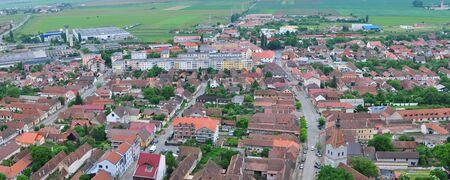 bird view: rasnov city romania country bird view panorama Stock Photo