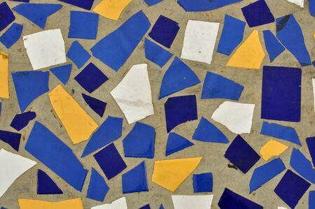 hone: ceramic hone and tile shards mosaic pattern background Stock Photo