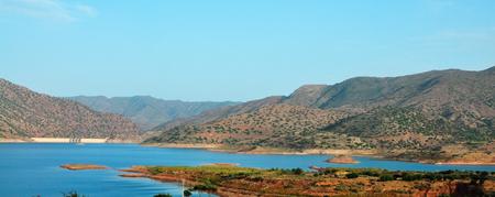 barrage: morocco Barrage Abdelmoumen artificial lake landscape panorama Stock Photo