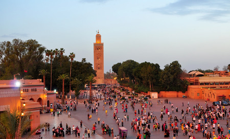 crowds of people: marrakech city morocco Koutoubia Mosque landmark architecture