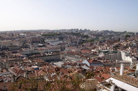 old center: lisbon city portugal old center panorama view