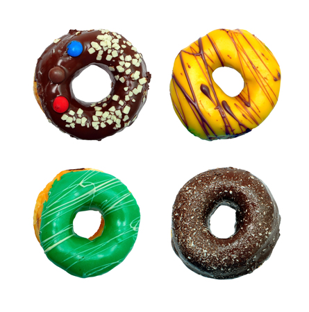 four of a kind: four kind of donuts pack isolated over white