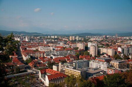 old center: Ljubljana city slovenia old center panorama view