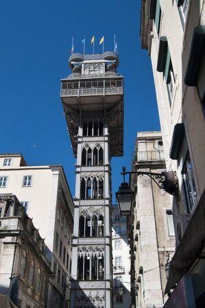 justa: lisbon city portugal Santa Justa Elevator landmark architecture Stock Photo
