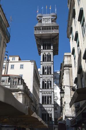 justa: lisbon city portugal Santa Justa Elevator landmark architecture Editorial