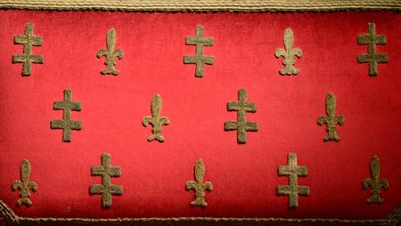 exhibit: hungarian throne upholstery fabric texture museum exhibit