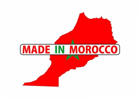 made in morocco: made in morocco country national flag map shape with text