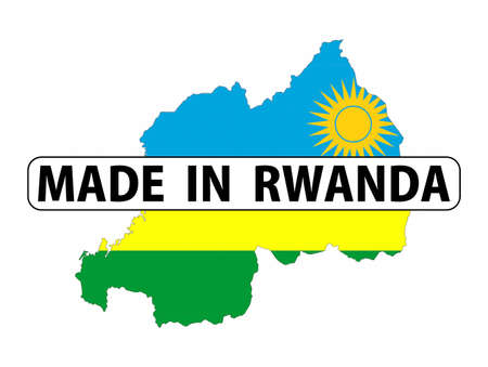 rwanda: made in rwanda country national flag map shape with text Stock Photo