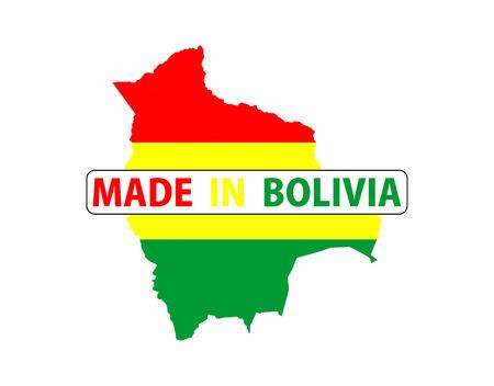 mapa de bolivia: made in bolivia country national flag map shape with text Foto de archivo
