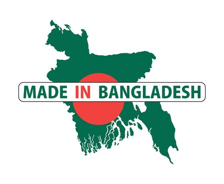 made in bangladesh country national flag map shape with text