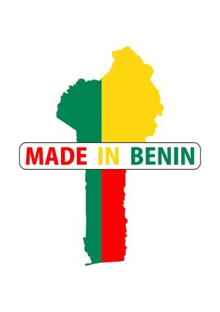 benin: made in benin country national flag map shape with text Stock Photo