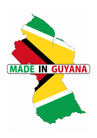 guyana: made in guyana country national flag map shape with text