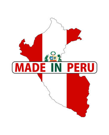mapa del peru: made in peru country national flag map shape with text