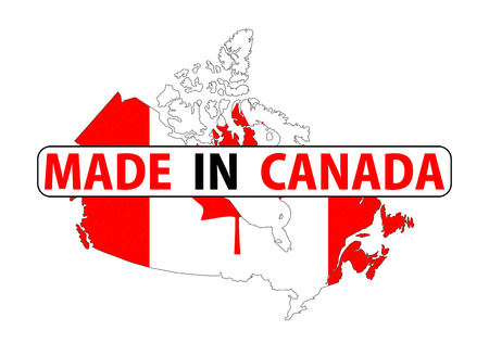 canada country: made in canada country national flag map shape with text Stock Photo
