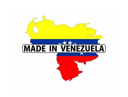 mapa de venezuela: made in venezuela country national flag map shape with text