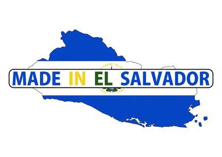 mapa de el salvador: made in el salvador country national flag map shape with text