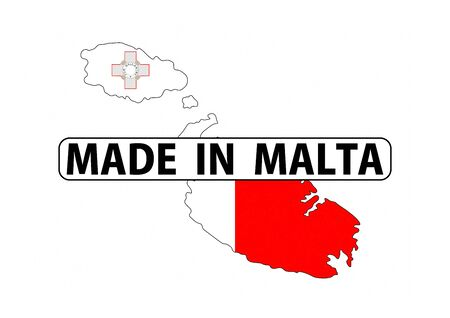 malta map: made in malta country national flag map shape with text