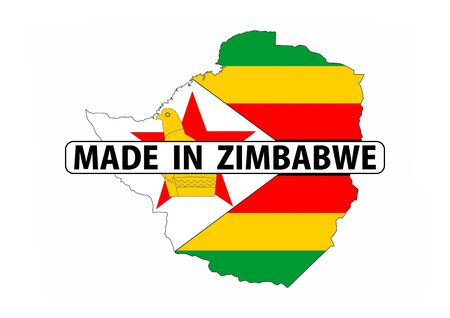 zimbabwe: made in zimbabwe country national flag map shape with text