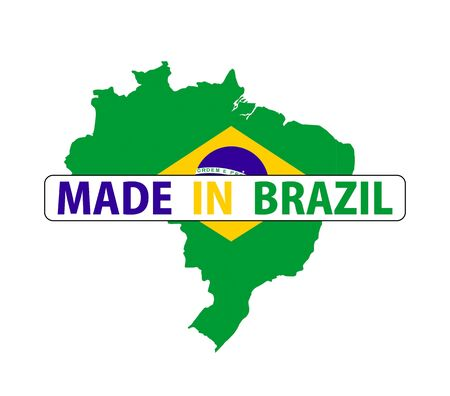 brazil country: made in brazil country national flag map shape with text Stock Photo