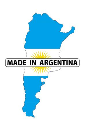 Made In Argentina Country National Flag Map Shape With Text Stock - Argentina map shape