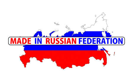the federation: made in russian federation country national flag map shape with text