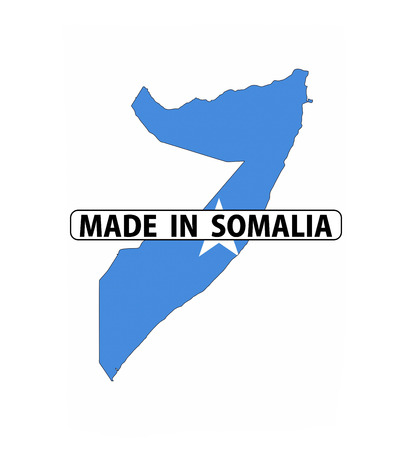 somalia: made in somalia country national flag map shape with text Stock Photo