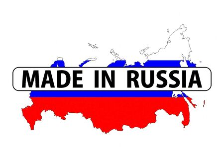 made in russia: made in russia country national flag map shape with text