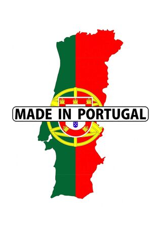 made in portugal: made in portugal country national flag map shape with text Stock Photo
